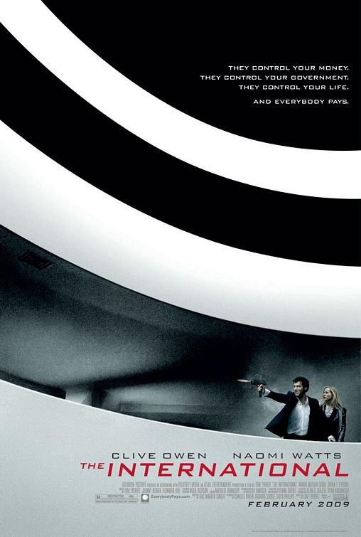 "Poster de ""The International"", con Clive Owen y Naomi Watt, aunque no se les vea"