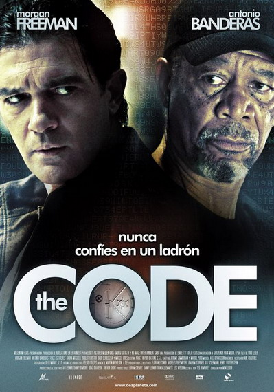 "Poster de ""The Code"", con Antonio Banderas y Morgan Freeman"