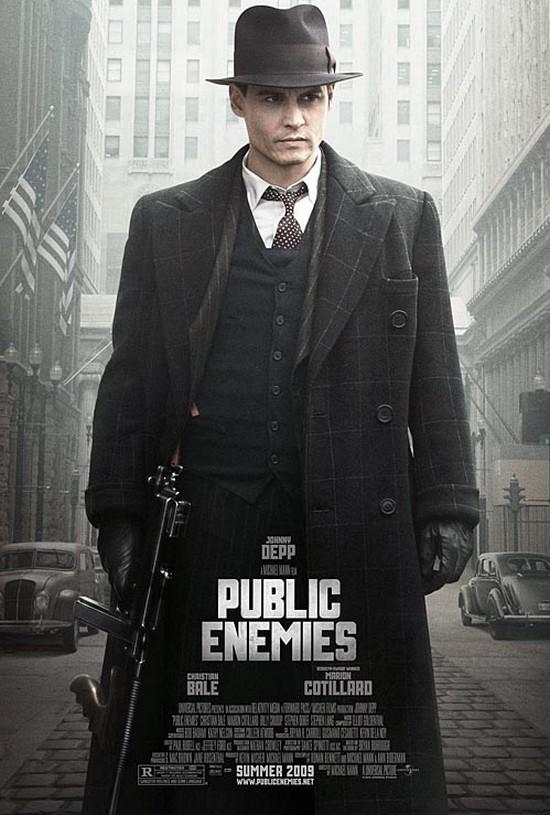 """Poster (con protagonismo absoluto de Johnny Depp) de """"Public Enemies"""""""